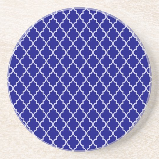 Navy Blue And White Moroccan Trellis Pattern Coaster
