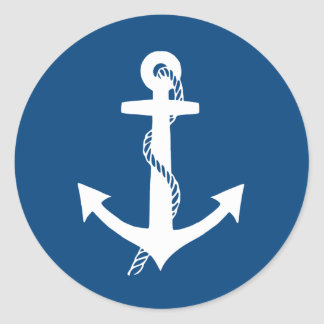 Navy Blue and White Nautical Anchor Stickers