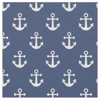 Navy Blue and White Nautical Anchors Pattern Fabric