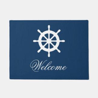 Navy blue and white nautical custom door mat