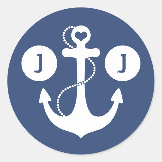 Navy Blue and White Nautical Monogram Classic Round