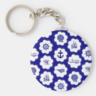 Navy Blue and White Nautical Pattern Basic Round Button Key Ring