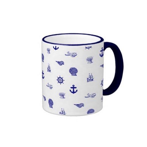 Navy Blue and White Nautical Pattern Coffee Mug   Zazzle