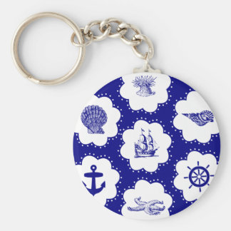 Navy Blue and White Nautical Pattern Key Chains
