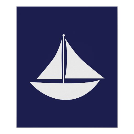 Navy Blue and White Nautical Sail Poster