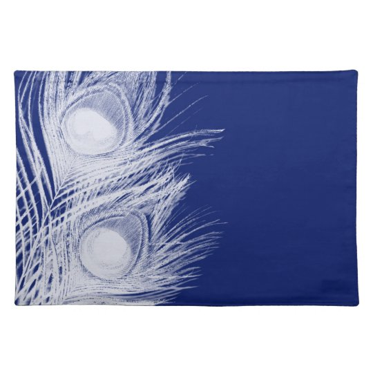 Navy Blue and White Peacock Feather Placemats