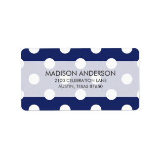 Navy Blue and White Polka Dot Pattern Address Label