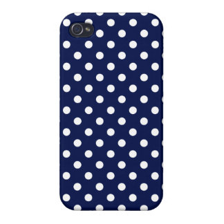 Navy Blue and White Polka Dot Pattern Case For The iPhone 4