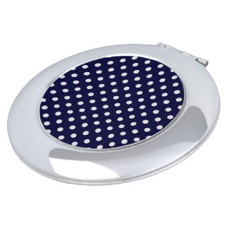 Navy Blue and White Polka Dot Pattern Vanity Mirrors