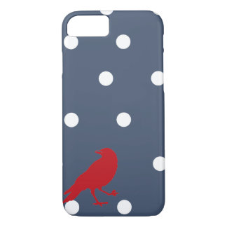 Navy Blue and White Polka Dot Red Bird Phone Case