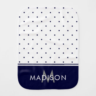 Navy Blue and White Polka Dots Burp Cloth