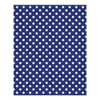 Navy Blue and White Polka Dots Pattern 11.5 Cm X 14 Cm Flyer