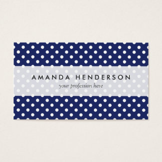 Navy Blue and White Polka Dots Pattern Business Card