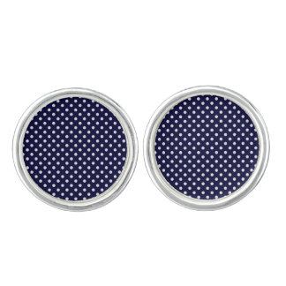 Navy Blue and White Polka Dots Pattern Cuff Links
