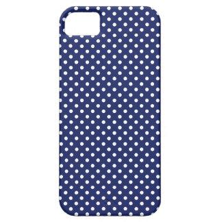 Navy Blue and White Polka Dots Pattern iPhone 5 Covers
