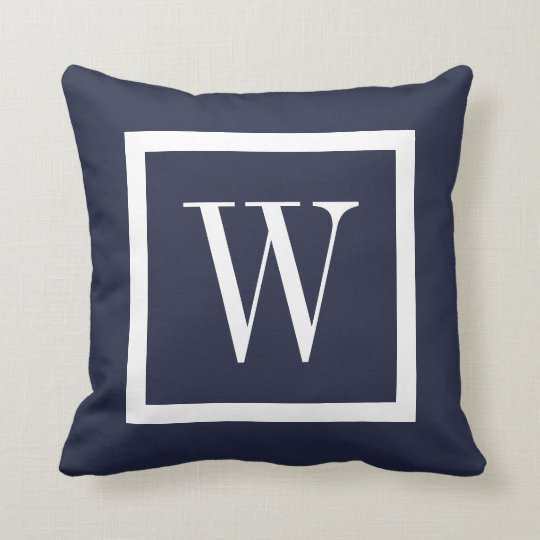 Navy Blue and White Preppy Square Monogram Cushion