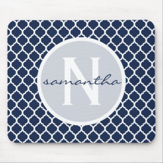 Navy Blue and White Quatrefoil Monogram Mouse Mat