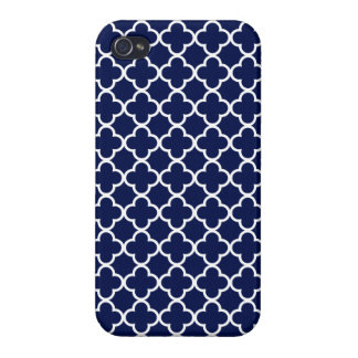 Navy Blue and White Quatrefoil Patterns iPhone 4 Cases