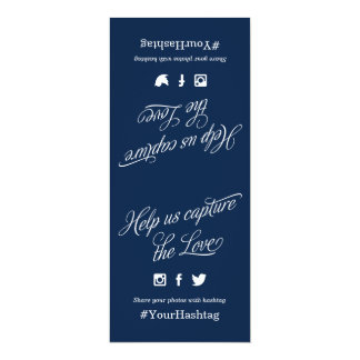 Navy Blue and White Script Wedding Hashtag Sign Card