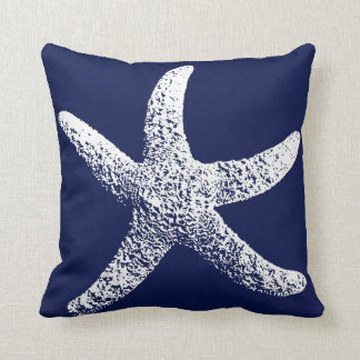 Navy Blue and White Starfish Pillow