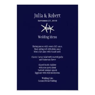 Navy Blue and White Starfish Wedding Menu Template Card