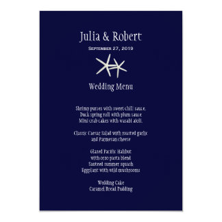 Navy Blue and White Starfish Wedding Menu Template Personalized Invitation