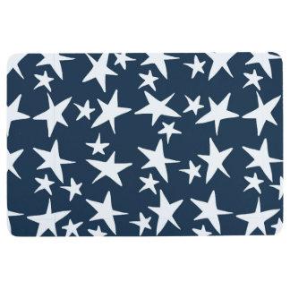 Navy Blue and White Stars Floor Mat