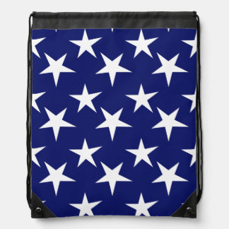 Navy Blue and White Stars; Patriotic Drawstring Backpack
