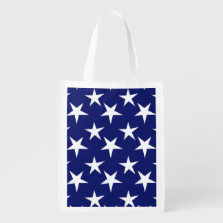 Navy Blue and White Stars; Patriotic Reusable Grocery Bag