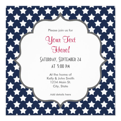 Navy Blue and White Stars, Starry Pattern Personalized Announcement