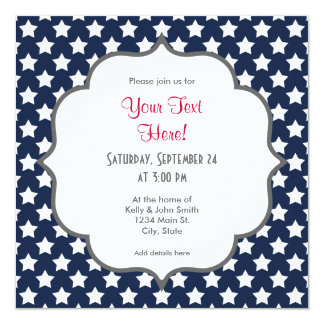 Navy Blue and White Stars, Starry Pattern 13 Cm X 13 Cm Square Invitation Card
