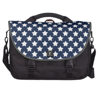 Navy Blue and White Stars, Starry Pattern Laptop Commuter Bag