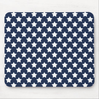 Navy Blue and White Stars, Starry Pattern Mouse Pad