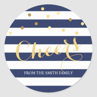 Navy Blue and White Stripe Gold Confetti Holiday Classic Round Sticker