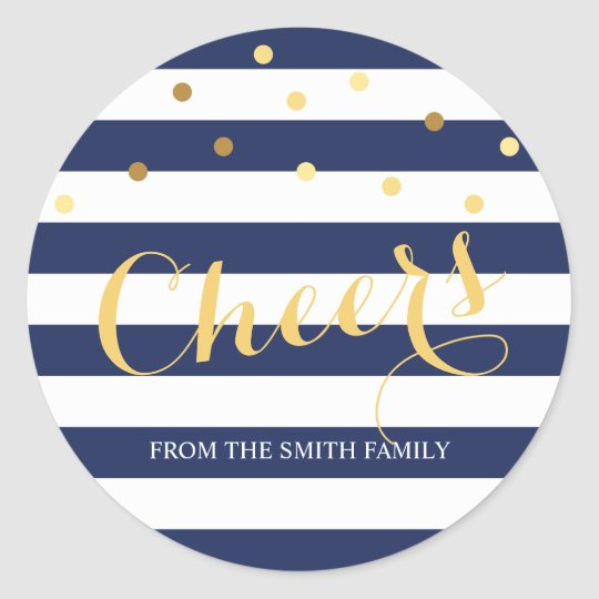 Navy Blue and White Stripe Gold Confetti Holiday