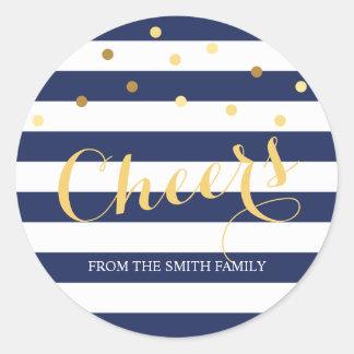 Navy Blue and White Stripe Gold Confetti Holiday Round Sticker