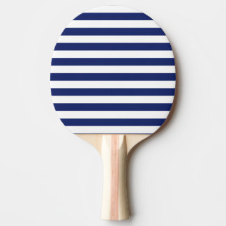Navy Blue and White Stripe Pattern Ping Pong Paddle