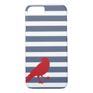 Navy Blue and White Striped Red Bird Phone Case