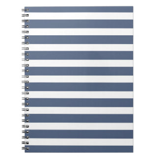 Navy Blue and White Striped Sprial Notebook