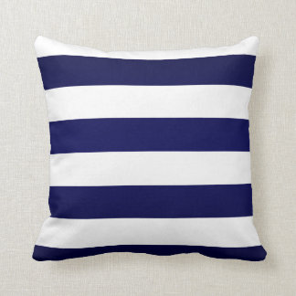 Navy Blue and White Stripes Cushion