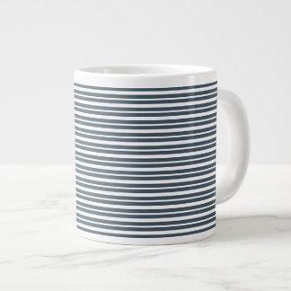 Navy Blue and White Stripes Jumbo Mug