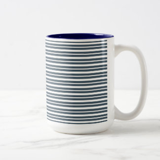 Navy Blue and White Stripes Mug