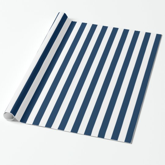 Navy blue and white stripes pattern wrapping paper