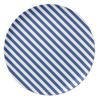 Navy Blue and White Stripes Plate