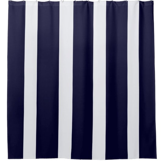 Navy striped shower curtain