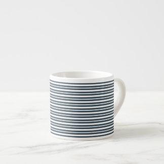 Navy Blue and White Stripes Espresso Mugs