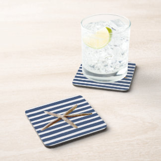 Navy Blue and White Stripes Starfish Coaster