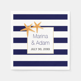 Navy blue and white stripes starfish wedding disposable serviette