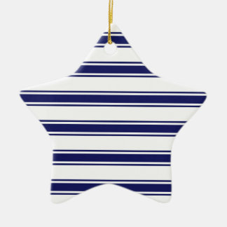 Navy Blue and White Stripes; Striped Ceramic Star Decoration