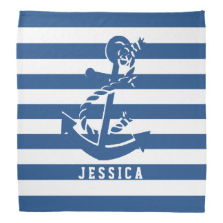 Navy Blue And White Stripes With Nautical Anchor Bandana